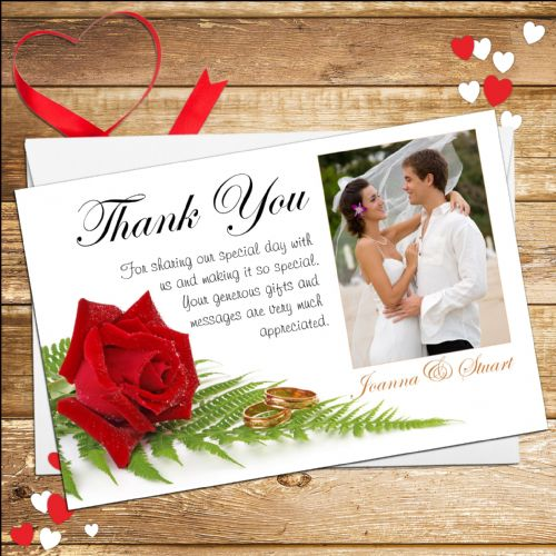 10 Personalised Red Rose Wedding Thank you Photo cards N9